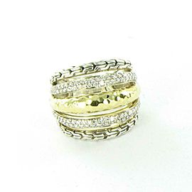 John Hardy Classic Silver Gold Hammered Diamond 0.60cts Ring Sterling Size 7