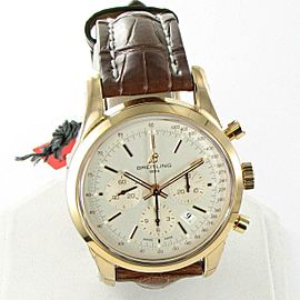 Breitling Transocean Chronograph 18K Rose Gold Silver Dial Watch RB015212 G738