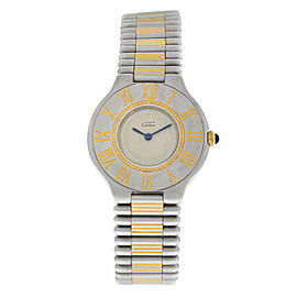 Ladies Cartier Must de Cartier 21 Stainless Steel Gold Bullet 31MM Quartz Watch