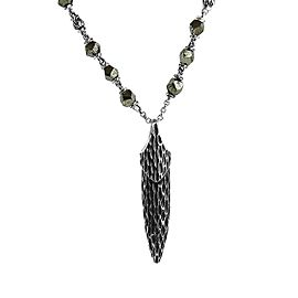 JOHN HARDY STERLING SILVER LEGENDS NAGA PENDANT PYRITE NECKLACE 28""