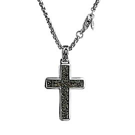 JOHN HARDY STERLING SILVER CLASSIC CHAIN SMOKY QUARTZ CROSS NECKLACE 26""