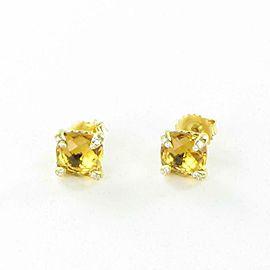 David Yurman Chatelaine Stud Citrine 18K Yellow Gold Diamond Earrings