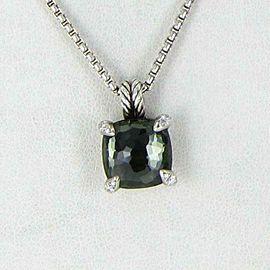 "David Yurman Chatelaine 11mm Green Orchid Diamond Pendant Sterling 18"""