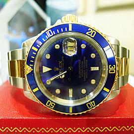 Rolex Submariner 18K Yellow Gold Steel Diamond Serti Dial Watch