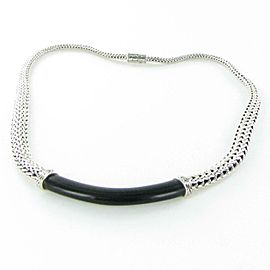 John Hardy Classic Chain Silver Black Ebony Wood Link Graduated Necklace