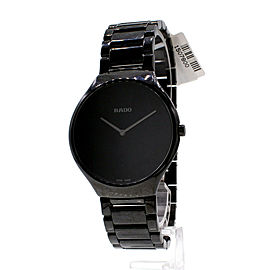 Rado True Thinline Black Ceramic Round Mens Watch