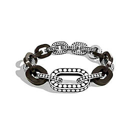 John Hardy Dot Bracelet Sterling Silver with Ebony Wood Links