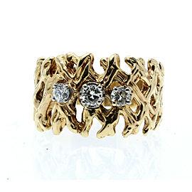 ESTATE 14k Yellow Gold Nugget Cris Cross Diamond Ladies ring 9 Grams Size 8.5