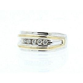 ESTATE 14k White Yellow Gold .50ct Diamond Men's ring 6.2 Grams Size 8.5