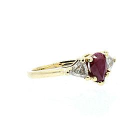Fine Estate 14k Yellow gold Diamonds & Pear Ruby Ladies Ring 3.5 Grams Size 4.75