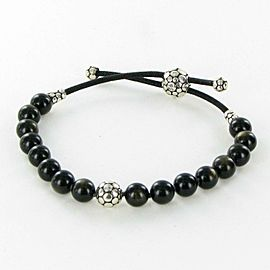 John Hardy Dot Beaded Bracelet Obsidian 8mm Sterling Adjustable Pull Through
