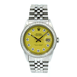 Mens Rolex Oyster Perpetual Datejust Stainless Steel Diamond Watch