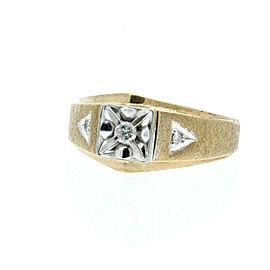 Estate 14k Yellow/White gold .12ct Diamonds Men's Ring Size 8.75