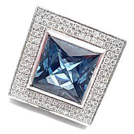 Pasquale Bruni 18k White Gold Diamond London Blue Topaz Large Ring