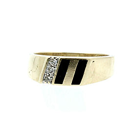 Estate 10k Yellow gold Onyx Diamonds Men's Ring Size 10