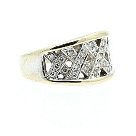 Estate 18k White gold Criss Cross Diamonds Ladies Ring Size 7