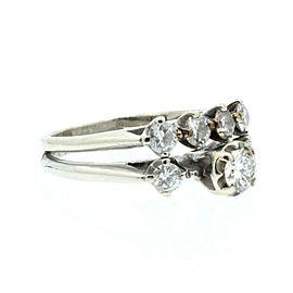 Estate 14k White gold 1.00ct Diamonds Double Ladies Ring Size 6