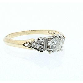 Estate 14/18k Yellow White gold .40ct Round Diamonds Ladies Ring Size 6