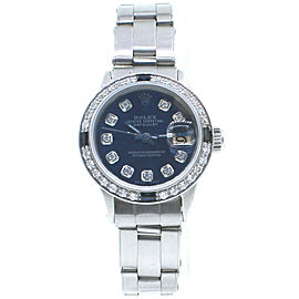 Ladies Rolex Oyster Perpetual Datejust Diamond Dial and Bezel Blue Dial Watch