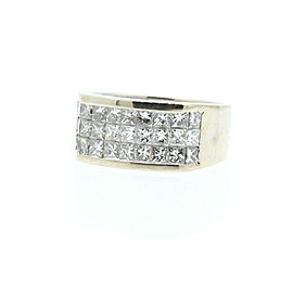 Estate 18k White Gold 3ct Princess cut Diamonds Men's Ring Band Size 9.5