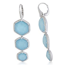 Stephen Webster Deco 18K White Gold with 1.60ct Diamond, 45.90ct Turquoise and Quartz Drop Earrings