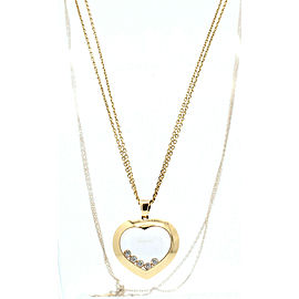 "Chopard 18k Rose Gold Heart 5 Floating Happy Diamonds Pendant Necklace 32"""
