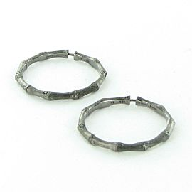 John Hardy Bamboo Hoop Earrings 38mm Darkened Sterling Silver EB5433BHMBRD