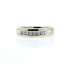 14k White Gold .30ct Diamond Men's Ring Band Size 8