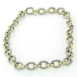 "David Yurman Large Oval Link Chain Necklace 17.5"" 18K Gold Sterling 925"