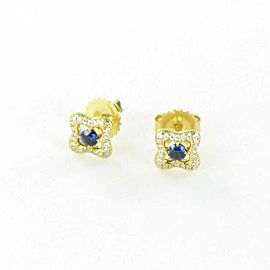 David Yurman Venetian Quatrefoil Earrings Blue Sapphires Diamond 18K Yellow Gold