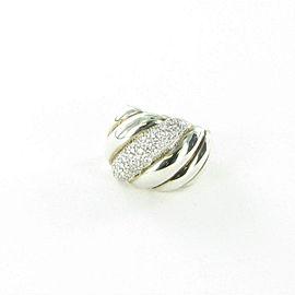 David Yurman Hampton Diamond Ring Cable 0.78cts Sterling 18mm Sz 7
