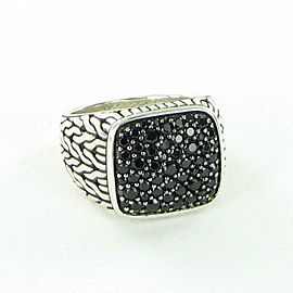 John Hardy Classic Chain Signet Ring Mens Lava Black Sapphires Sterling