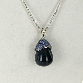 John Hardy Batu Classic Chain CelestialOrb Sodalite Lava Sapphire Necklace