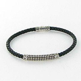 John Hardy Classic Chain Bracelet Jawan Station Black Leather Sterling 925