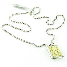 John Hardy Classic Chain Hammered Gold & Silver Dog Tag Pendant Necklace