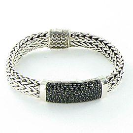 John Hardy Classic Chain 11mm Bracelet Black Sapphire Clasp Sterling