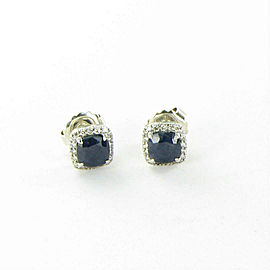 John Hardy Batu Classic Chain Diamond Sapphire Stud Earrings Sterling