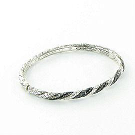 John Hardy Classic Chain 5mm Twisted Bangle Bracelet Blk Sapphires 925
