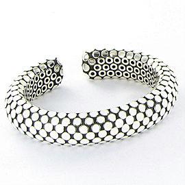 John Hardy Sterling Silver Dot White Enamel 15.5mm Cuff Bracelet
