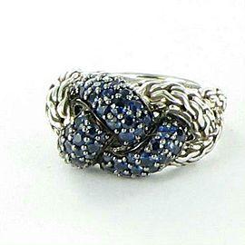 John Hardy Classic Chain Lava Small Braided Blue Sapphire Ring Sz 7