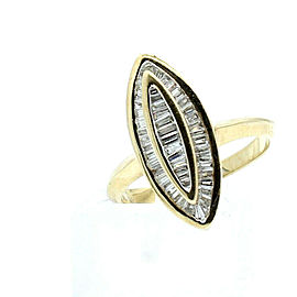14k Yellow gold 1.5ct Baguette Diamond Ladies Marquis Ring Size 7.5