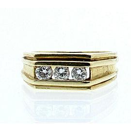 Fine Estate 14k Yellow Gold .45ct 3 Diamond Men's Ring Size 9