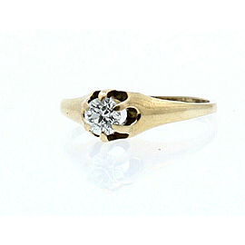 Vintage 14k Yellow Gold .33ct Diamond Solitaire Ladies Ring Size 7.25