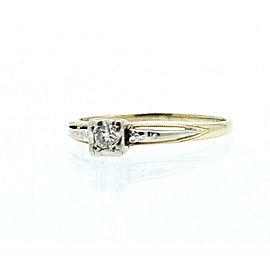 Vintage 14k Yellow White Gold .10ct Diamond Solitaire Ladies Ring Size 9