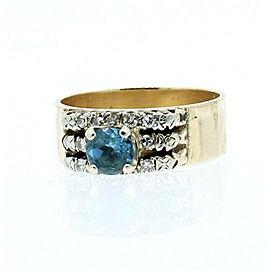 14k Yellow Gold Round Blue Topaz Diamond Wide Ladies Ring Size 10.5