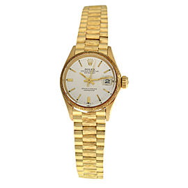 Ladies Rolex Oyster Perpetual Date Just 6701 18K Yellow Gold 25MM Watch