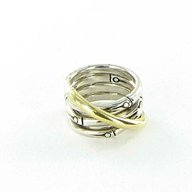 John Hardy Bamboo Ring 14mm Band RZ5939x7 18k Yellow Gold Sterling Silver Sz 7