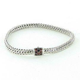 John Hardy Classic Chain 5mm Bracelet Garnet Clasp Sterling Silver