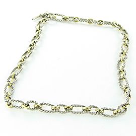 "David Yurman 9.5mm Cushion Link Chain Necklace 20"" Sapphires 18K Sterling $2750"