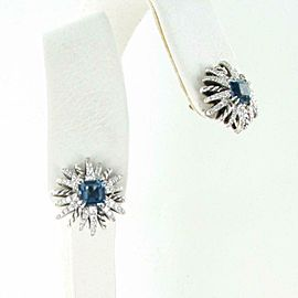David Yurman Starburst Earrings 19mm Blue Topaz Diamond 0.64cts Sterling $3200